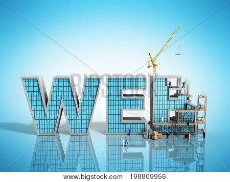 Web Development Concept Builders Are Working On The Inscription Web 3D Illustration On Blue