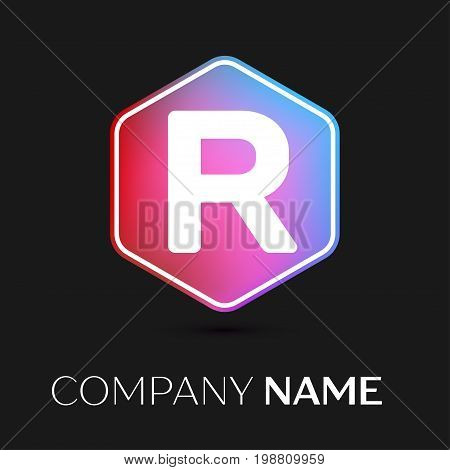 Realistic Letter R vector logo symbol in the colorful hexagonal on black background. Vector template for your design