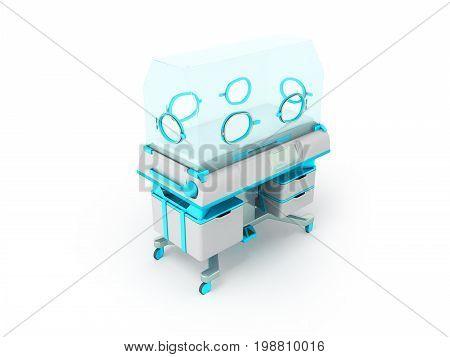 Incubator For Newborns Light Blue 3D Rendering On White Background