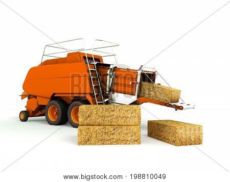 Press Baler Hay Bales Orange 3D Render On White Background