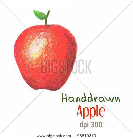 Red apple by oil pastel isolated on white background. Red apple isolated. Fresh whole apple handdrawn illustration. Juicy apple with green leaf. Red fruit from tree autumn harvest. Juicy fruit drawing