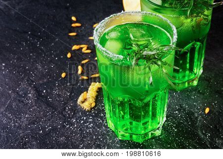 A beautiful composition of alcoholic drinks and melon seeds on a black background. Bright green drinks in two glasses with tarragon. Fresh and natural cantaloupe and honeydew. Summer fruits.