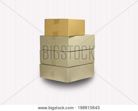 brown paper boxes stacked on white bground can used to move in concept and delivery goods concept as recycle and save the world because of reused and protect polution