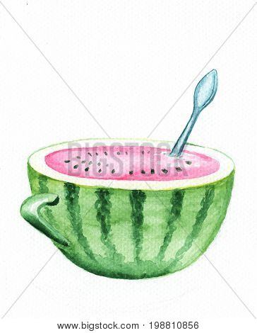 Watermelon cup with spoon watercolor illustration. Fresh watermelon juice cup. Pink water in green striped cup. Watermelon half cut. Watermelon cup handdrawn watercolour print. Summer seasonal fruit