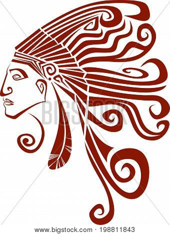 Native american profile silhouette portrait. Red Indian chief wearing traditional headdress. Vector terracotta illustration