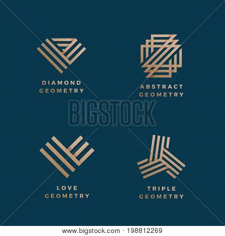 Abstract Geometry Minimal Vector Signs Set. Golden Line Gradient Symbols or Logo Templates. Dark Blue Background.