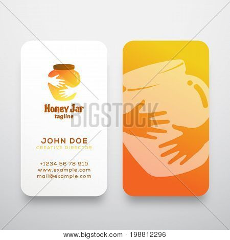 Honey Jar Abstract Vector Sign, Symbol or Logo Template and Business Card. Creative Stationary Layout. Colorful Pot in Hands Negative Space Concept. Isolated.