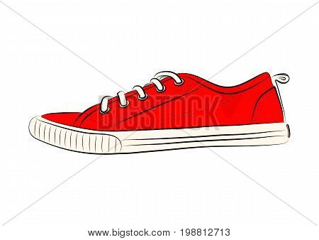 Sketch of sport shoes, sneakers for summer. Vector stock illustration.