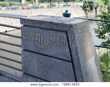 BERLIN GERMANY - JULY 30 2017: George C Marshall Bridge In Berlin