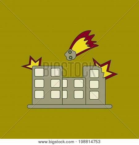 flat icon on stylish background meteorite falling on house