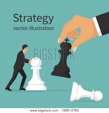 Business strategy. Strategist holding in hand chess figure black king. Victory in battle. Concept planning and management. Vector illustration flat design. Isolated on background. Winning success.