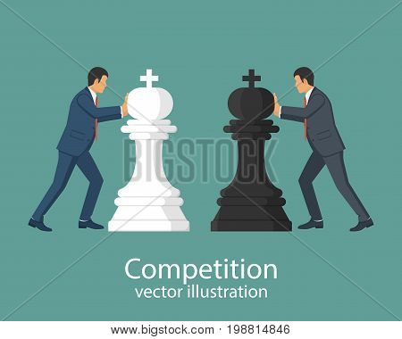 Business competition concept. Businessmen hold chess pieces in hands of punching as a symbol of rivalry, competition, corporate conflict. Vector illustration, flat design. Hitting chess figures.