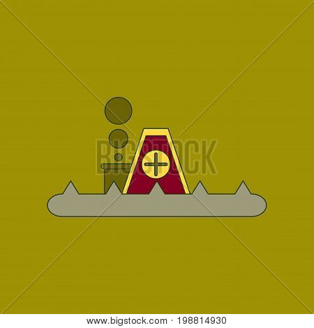 flat icon on stylish background flood house
