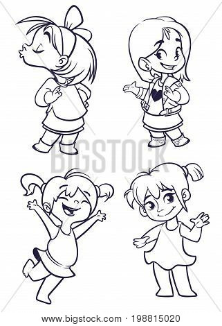 Cartoon small girls set. Vector illustration of outlined cartoon girls dancing kissing presenting. Illustrations for coloring book