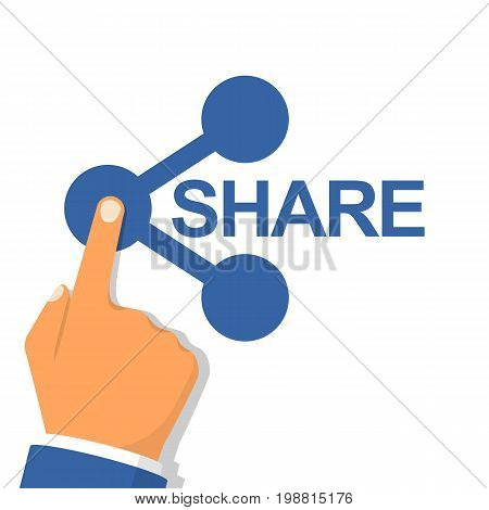 Hand pressing sharing button. Icon share. Vector illustration flat design. Isolated on white abstract background. Gesture of finger pressing share button. Social media concept. Click connection.