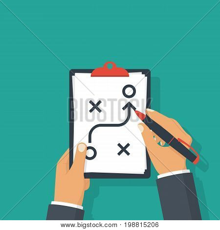 Planning strategy concept. Business tactic. Clipboard and pen in hand businessman. Vector illustration flat design. Isolated on background. Analysis scheme. Chart project.