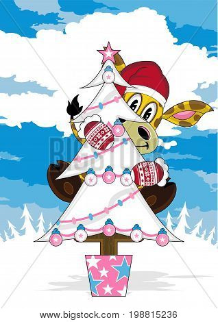 Cartoon Giraffe in Santa Claus Hat with Christmas Tree
