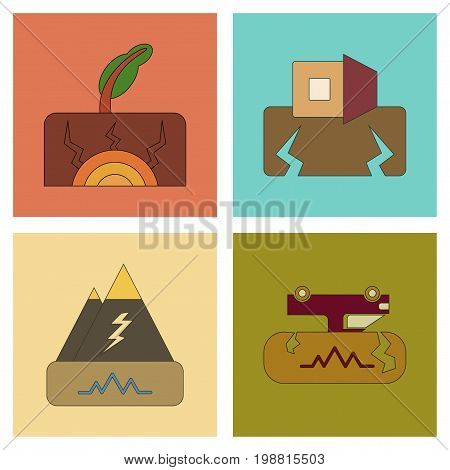 assembly of flat icons natural disaster earthquake