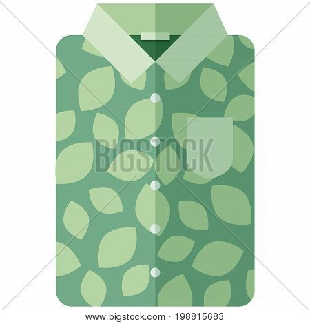 Vector Icon of a green modern shirt with leaves for men or women in flat style without lines. Pixel perfect. Bussiness and office look. For shops and stores