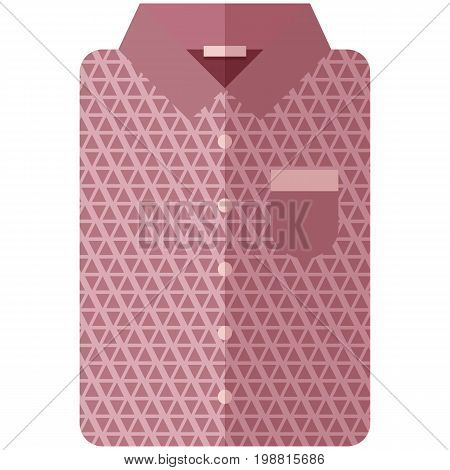 Vector Icon of a modern dark pink shirt with triangles for men or women in flat style without lines. Pixel perfect. Bussiness and office look. For shops and stores