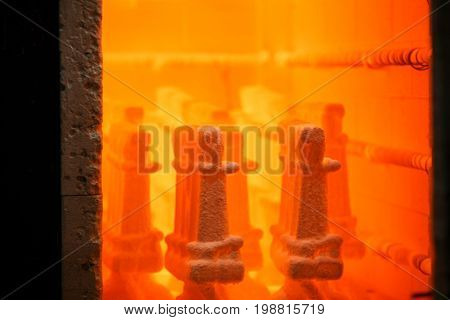 A close-up of opened furnace. Professional, industrial equipment and constructions. Professional pottery constructions. Manufacturing and metallurgical business.