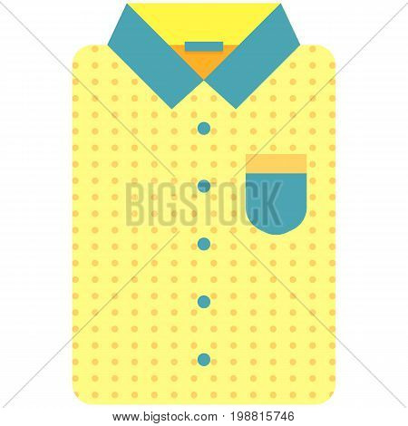 Vector Icon of a modern yellow shirt withdots for men or woman in flat style without lines. Pixel perfect. Bussiness and office look. For shops and stores