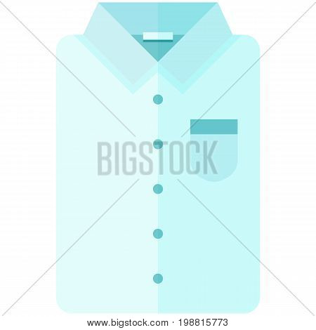 Vector Icon of a classic blue shirt  for men or woman in flat style without lines. Pixel perfect. Bussiness and office look. For shops and stores