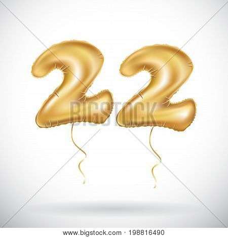Vector 22 Anniversary Celebration With Brilliant Gold Balloons & Colorful Alive Confetti. Twenty Two
