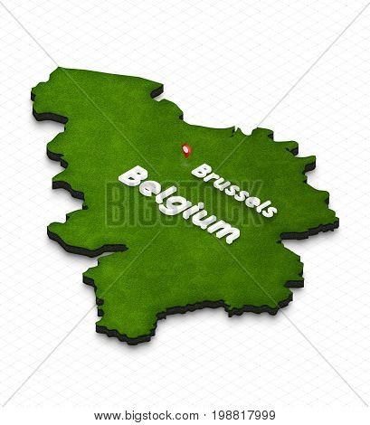 Map Of Belgium. 3D Isometric Perspective Illustration.