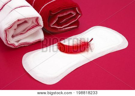 Terry towels red feather on menstrual woman pad for blood period hygiene. Menstruation sanitary pad hygiene protection. Woman critical days gynecological menstruation cycle. Medical concept photo