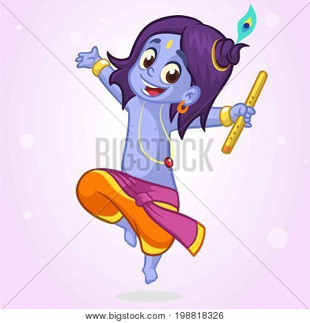 Ornament card with Lord Shri Krishna birthday. Illustration in vector art. Happy Janmashtami Day Hindu. Vedic Feast India. Use for banners card print. Cartoon little baby krishna image