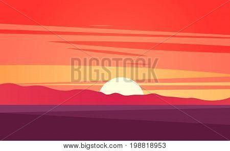 Sunset on beautiful tropical seascape vector illustration