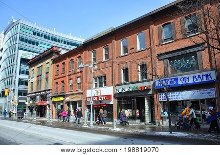 OTTAWA, CANADA - MAR. 10, 2012: Antique Buildings and stores on Bank Street, Ottawa, Ontario, Canada.