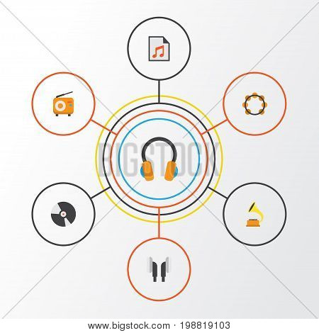 Music Flat Icons Set. Collection Of Broadcasting, Media, Dj And Other Elements