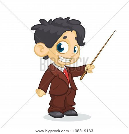 Cartoon little cute boy character presenting with a pointer. Vector illustration of a small boy presenting. Presentation clip art