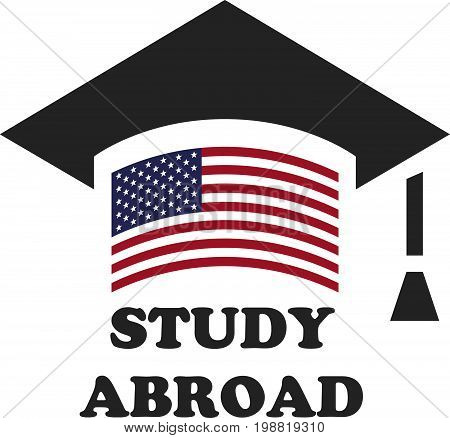 Graduate cap with stylized USA flag. vector illustration. Education icon. Font STUDY ABROAD icon,logo