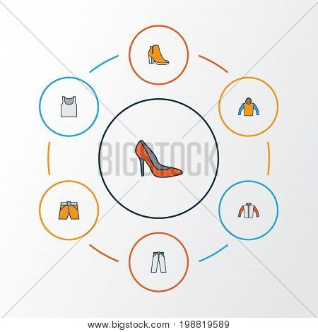 Garment Colorful Outline Icons Set. Collection Of Heels, Sweatshirt, Underwear And Other Elements