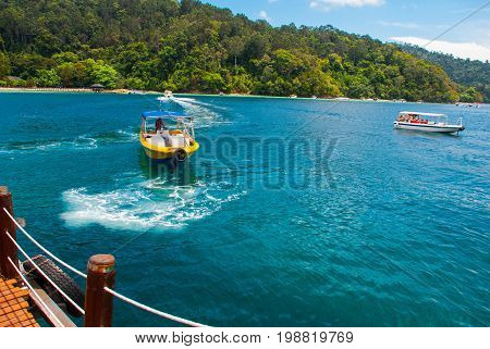 The View From The Pier With The Islands Of Sapi On Gaia. Sabah, Malaysia.