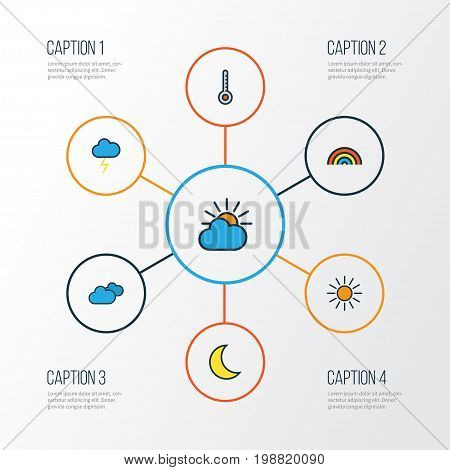 Climate Colorful Outline Icons Set. Collection Of Moonbeam, Scale, Cloudburst And Other Elements