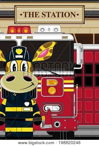 Little Giraffe Fireman Scene