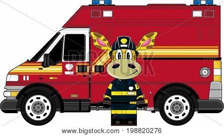 Cute Giraffe & Fire Truck.eps