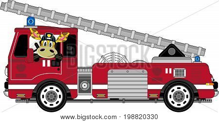 Fire Truck With Giraffe.eps