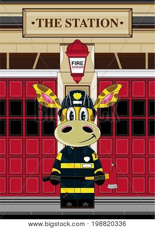 Firefighter Giraffe Scene