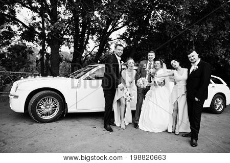 Wedding Couple And Groomsmen With Bridesmaids Posing Next To The Limousine. Black And White Photo.