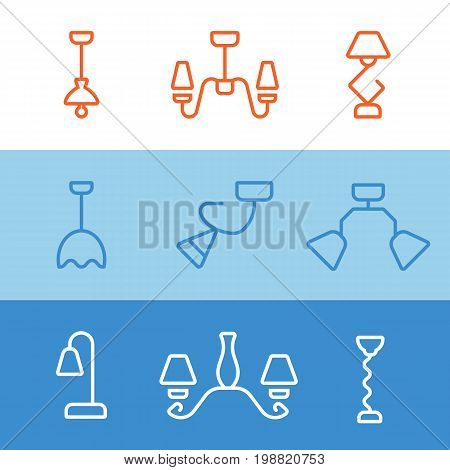 Chandelier line icon. set collection lighting Modern easy to edit template.