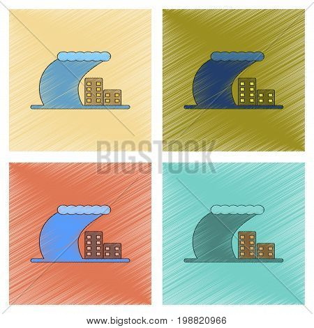 assembly flat shading style icon of tsunami city