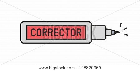 Corrector pen line icon on white background. Vector illustration.