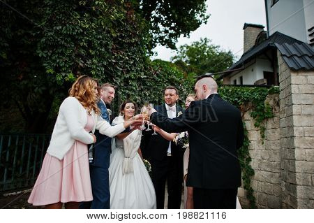 Wedding Couple, Bridesmaids And Groomsmen Drinking Champagne Outside.