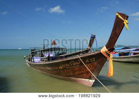 Longtail Ship At Ao Nang Beach.