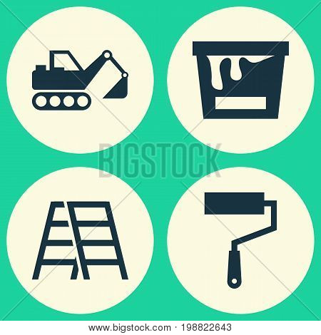 Building Icons Set. Collection Of Stair, Paint Roller, Digger And Other Elements